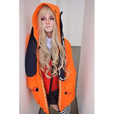 C-ZOFEK Kakegurui Runa Yomozuki Cosplay Costume Orange Hooded Jacket with Ears