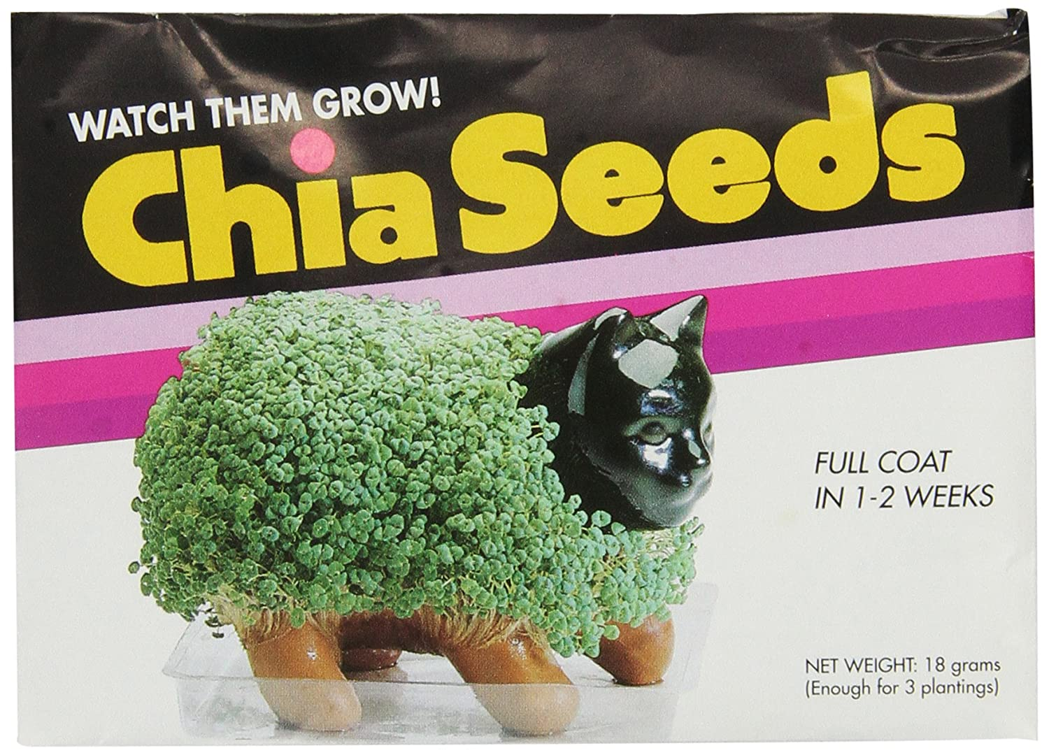 Chia Pet Seed Pack 3 Count, Decorative Pottery Planter, Easy to Do and Fun to Grow, Novelty Gift, Perfect for Any Occasion