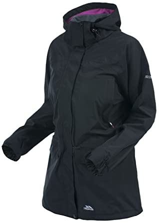 40df2120bcbc Trespass Skyrise, Black, XXS, Waterproof Jacket with Concealed Hood for  Women, XX
