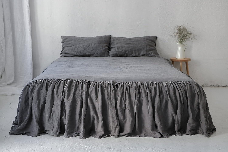 Gray linen DUST RUFFLE. Linen bedskirt. Linen ruffled coverlet. Gray linen bed skirt. Custom size.