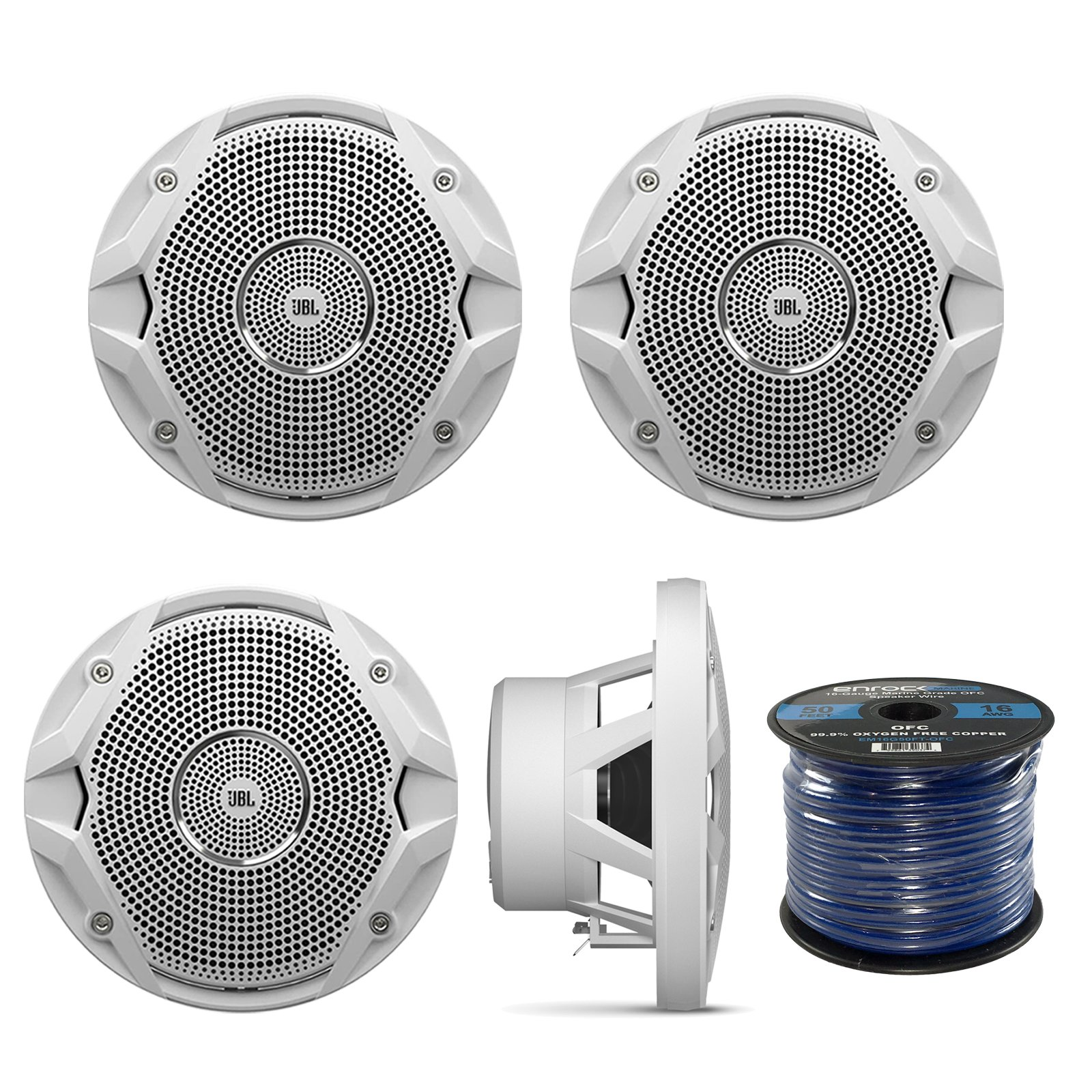 "JBL 4 X New MS6510 6.5"" 150 Watts Marine Boat Yacht Outdoor Waterproof Stereo Audio Speakers System with 50 Ft. Marine Speaker Wire Bundle - Great Marine Speakers Kit (4)"