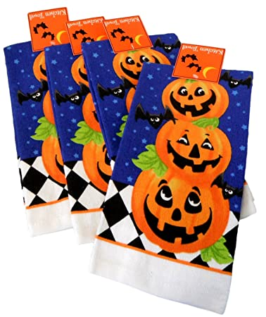 Amazon.com: Halloween Kitchen Towels - Pack of 4 100% Cotton Dish ...