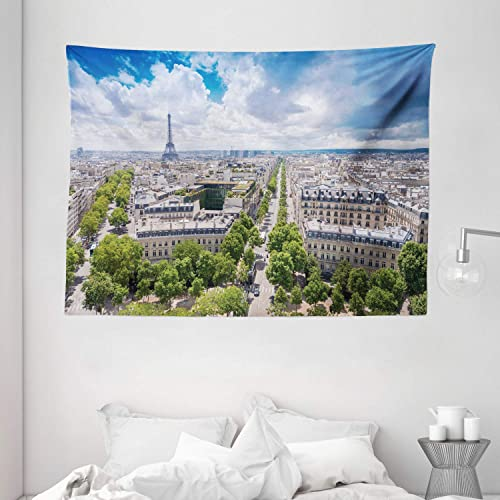 Ambesonne European Tapestry, Aerial Paris Eiffel Tower French Heritage Culture Architecture Image, Wide Wall Hanging for Bedroom Living Room Dorm, 80 X 60 , Blue Cream