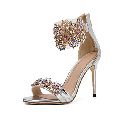 d146256b2da8b Mayou Women's Stiletto Heeled Sandals, High Heel Summer Clear Sandal Shoes  with Ankle Strap Transparent Ankle Strip Dress Lucite Strappy for ...