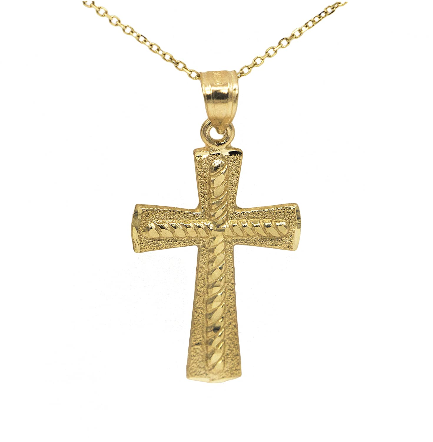 Ice on Fire Jewelry 10k Yellow Gold Cross Pendant Necklace