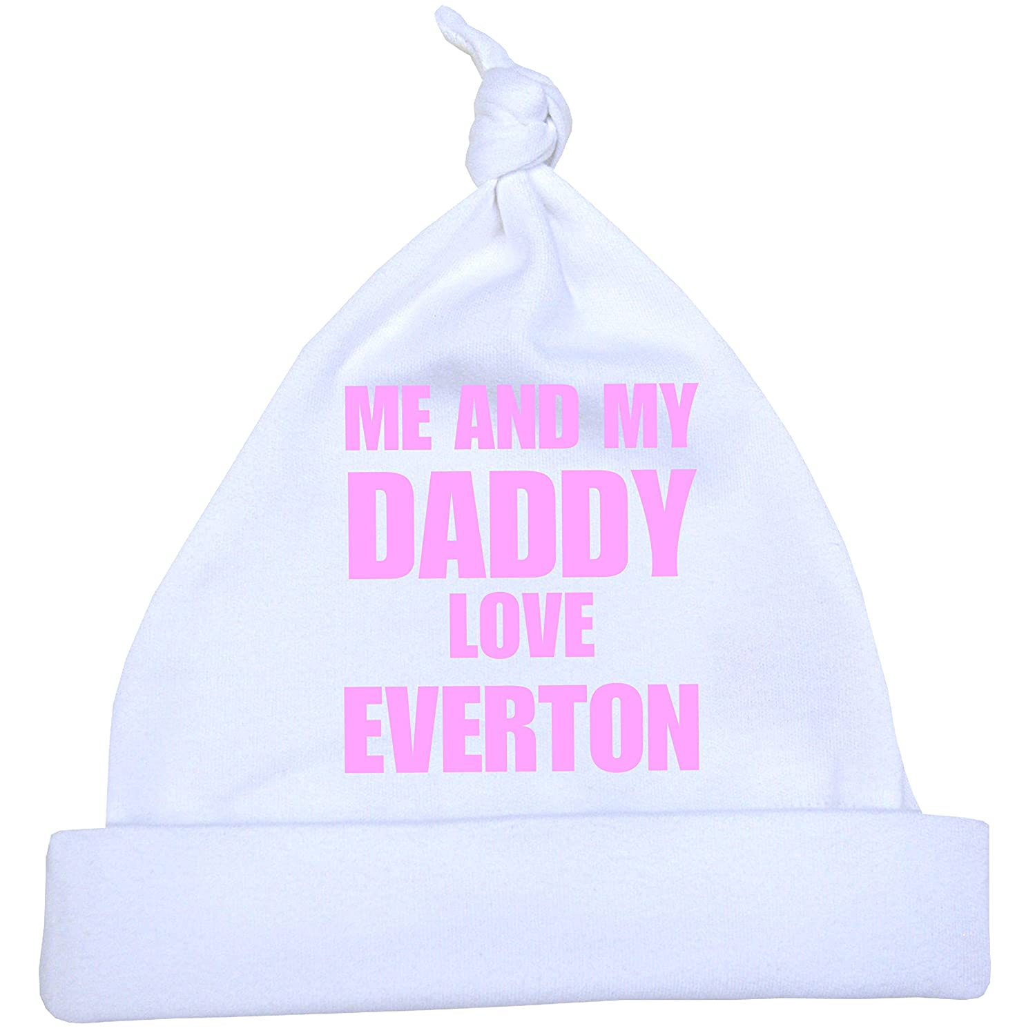 543e932b8ac Me and my Dad Love Everton Baby White Knotted Hat Newborn -12 months with  Choice of 9 Colours  Amazon.co.uk  Clothing