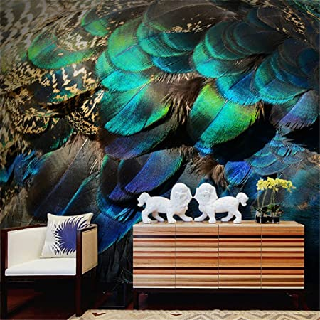 Zyyaky Wallpaper 3d Peppel Mural Peacock Feather Wallpaper Living
