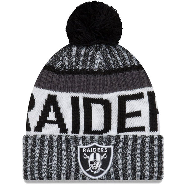 New Era Oakland Raidersニットポンポン付きニット帽キャップ – ブラック&グレー – Las Vegas   B0792GVGF1