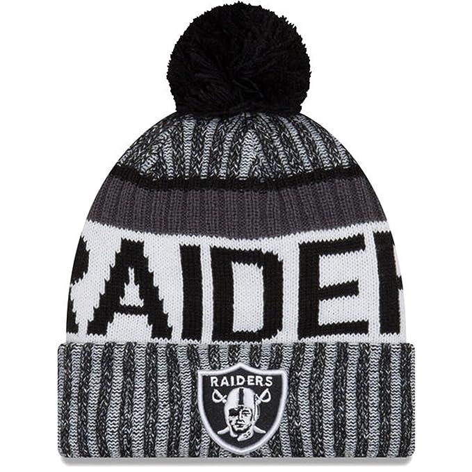 6f39eaa9 Amazon.com : New Era Oakland Raiders Knit POM Beanie Hat Cap - Black ...