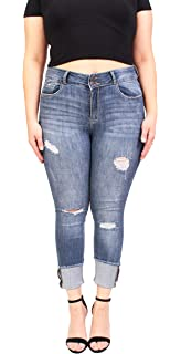 156cf947f66 Cello Jeans Women Plus Size Middle Rise Distressed Cropped Skinny Jeans  With Roll Cuff