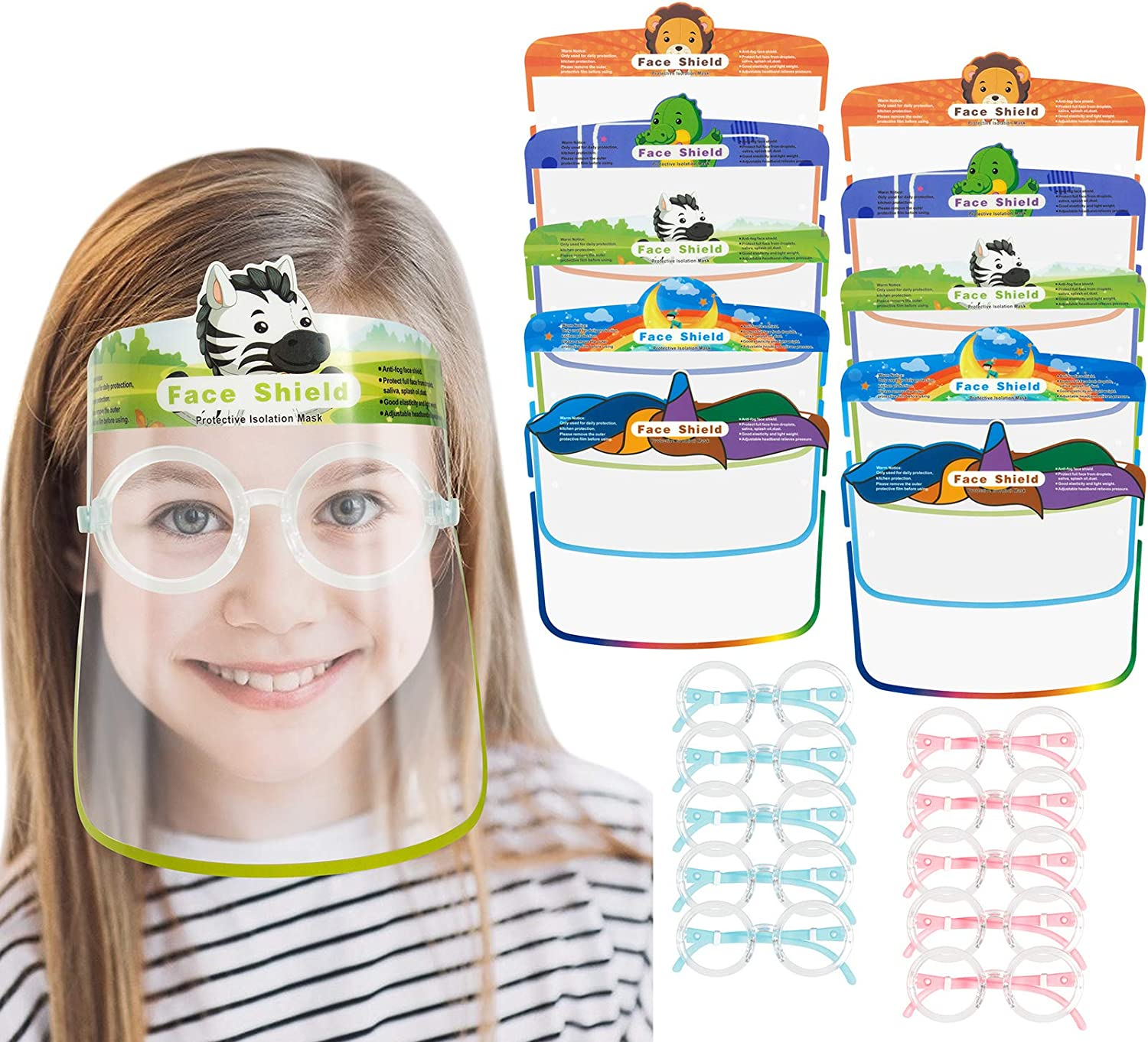 Bylater 10//20//50//100 Pcs Kids Face Shields with Cute Cloth Covering Breathable Reusable and Washable Blue10
