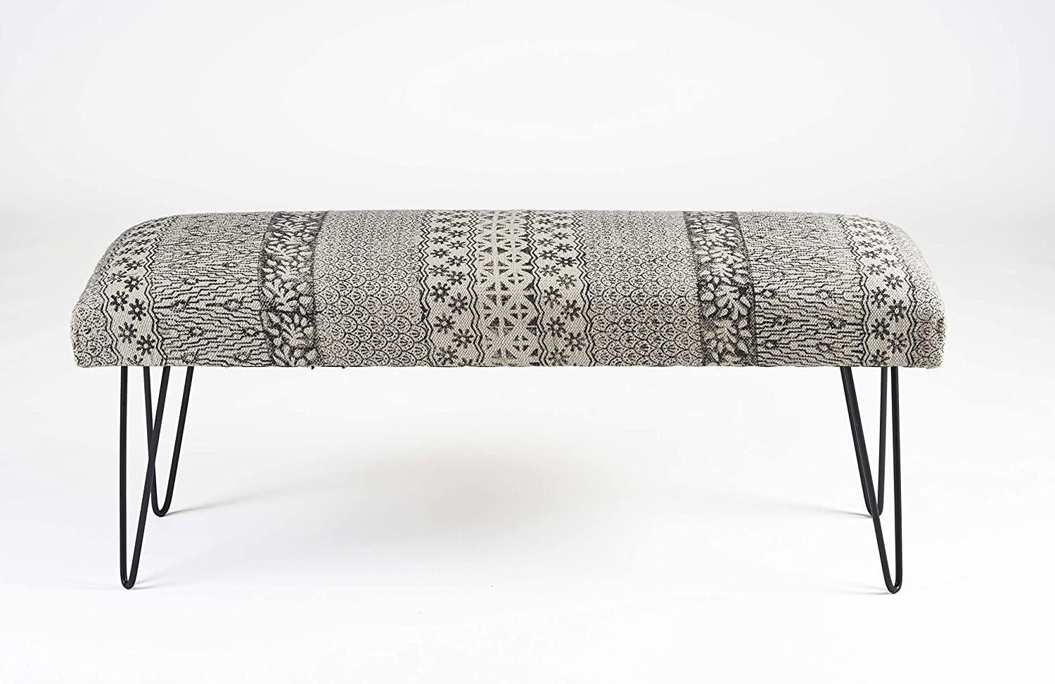 LR Home Black and White Indoor Bench, 3'11