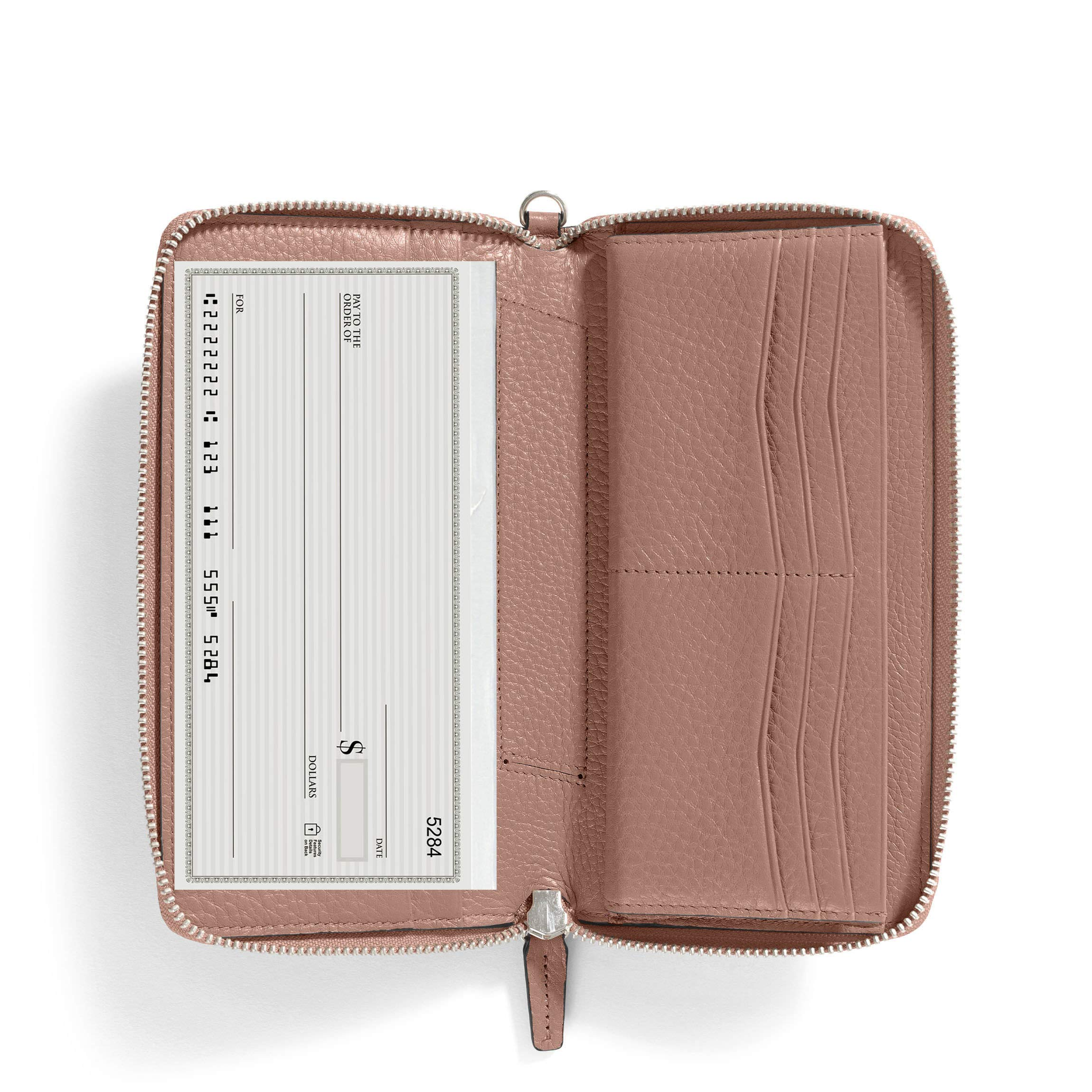 Windsor Checkbook Wallet - Full Grain Leather Leather - Mauve (Pink)