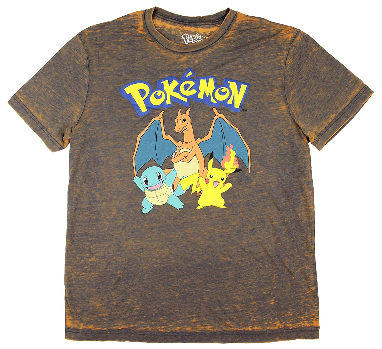 865d0e14 Top14: Rex Distributor Pokemon Charizard Squirtle and Pikachu Acid Wash  Mens T-Shirt