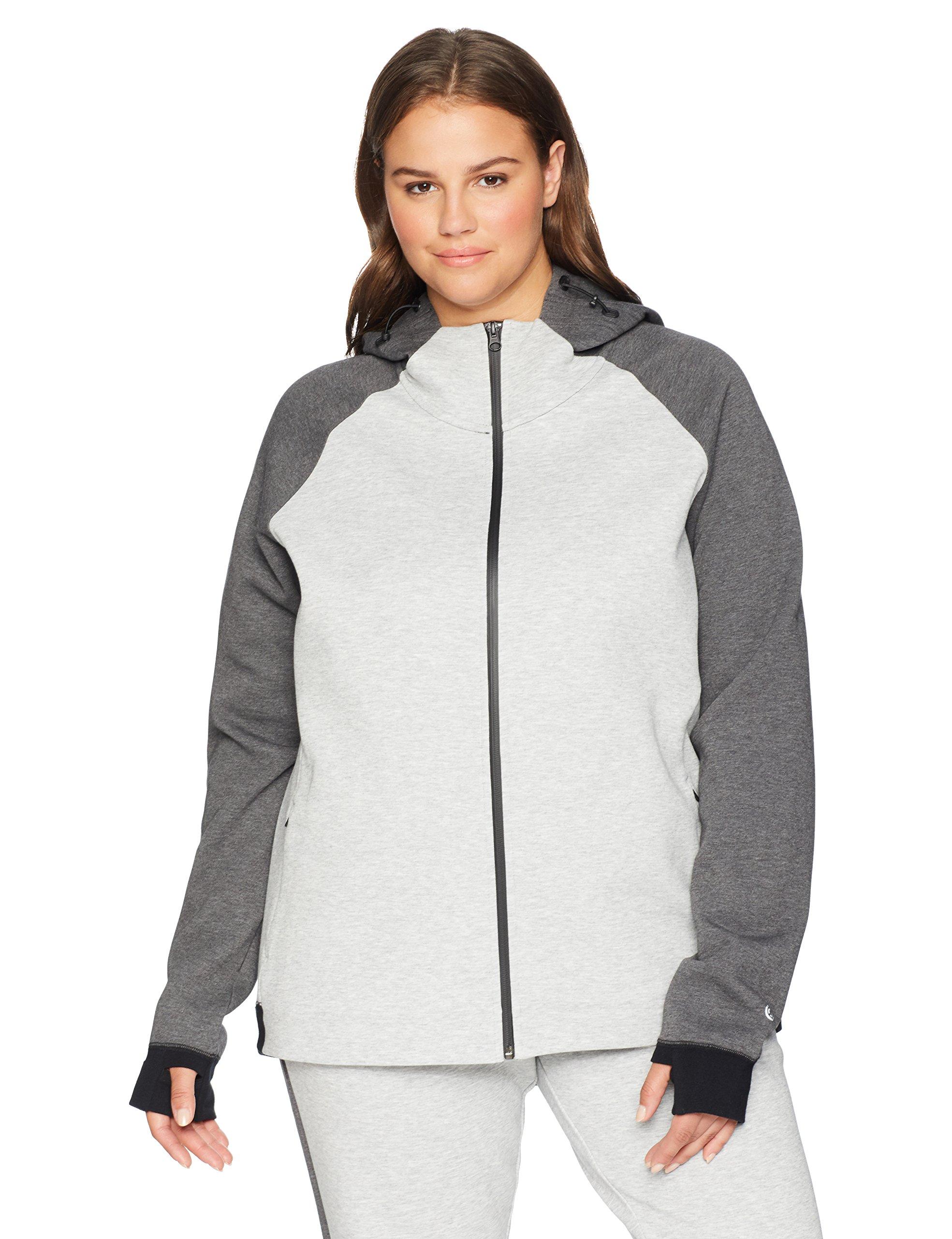 Core 10 Women's Plus Size Motion Tech Fleece Fitted Full-Zip Hoodie Jacket, Light Grey Heather/Medium Grey Heather/Black, 2X (18W-20W)