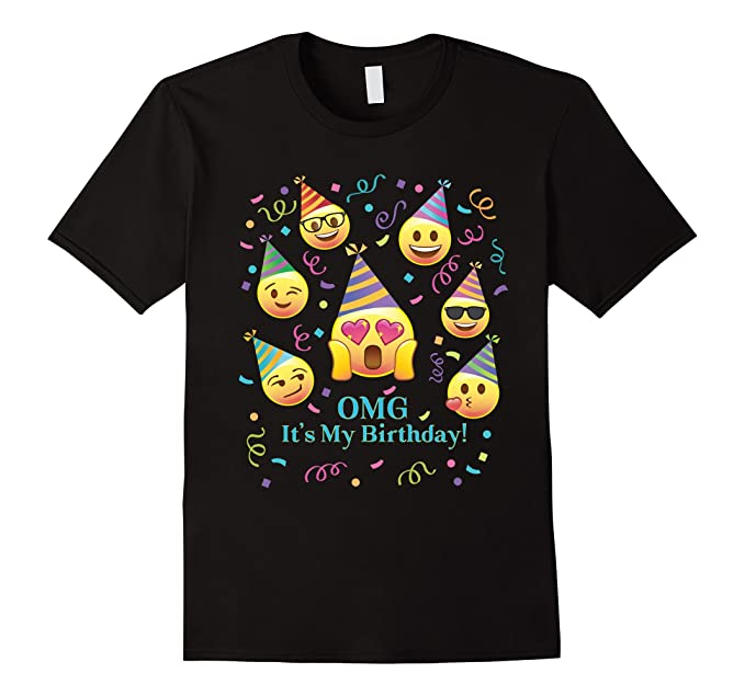 Mens Pink Emoji OMG Its My Birthday Funny Confetti T Shirt PJ 2XL Black