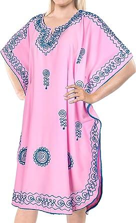 LA LEELA Mujer Kaftan Rayón Túnico Bordado Kimono Estilo Más tamaño Vestido para Loungewear Vacaciones Ropa de Dormir & Cada día Cubrir para Arriba Tops Camisolas Playa