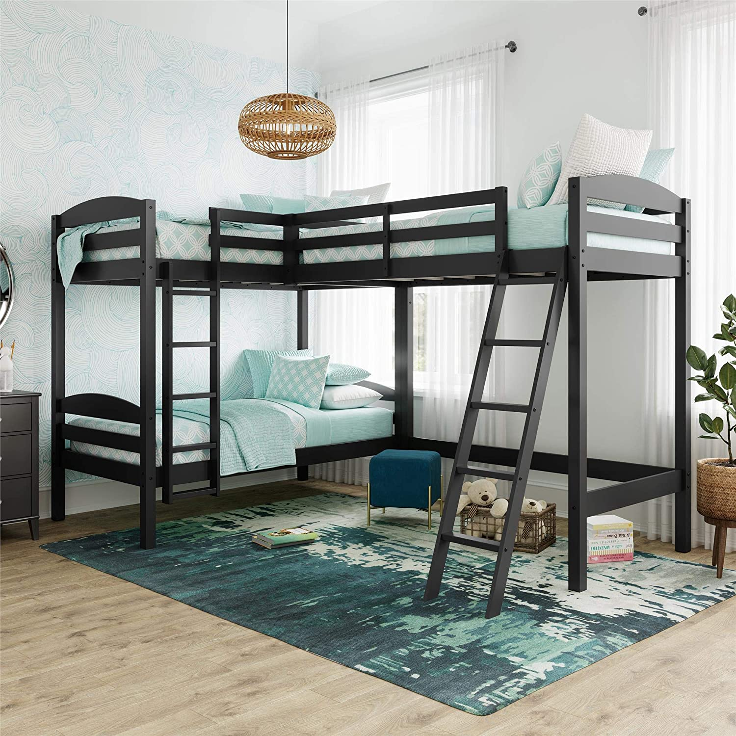 Dorel Living Clearwater Triple Wood Bunk, Twin Size, Black Bed