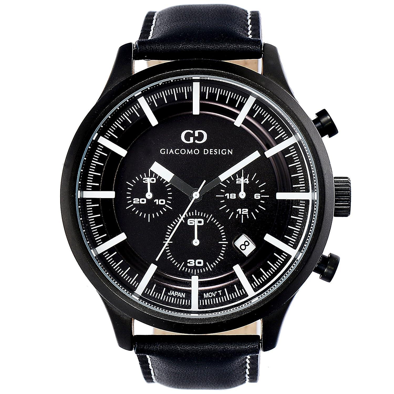 Giacomo Design GD01001 Herren-Armbanduhr Lederband Datum Chronograph