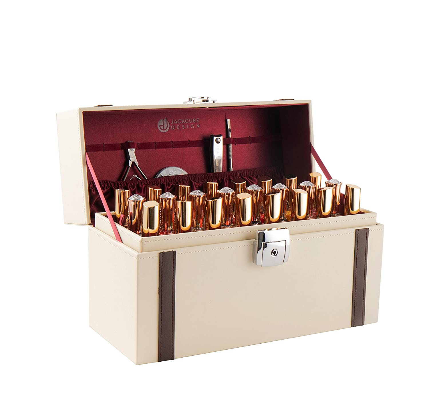 JackCubeDesign Nail Polish Organizer Makeup Train case 48 Compartments with Removable Tray Ivory Leather -MK406C