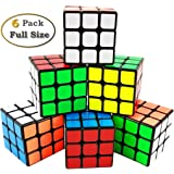 INTEGEAR Full Size Magic Speed Cube 3x3 Easy Turning and Smooth Play Puzzle Cube Set 56mm (6 Pack)