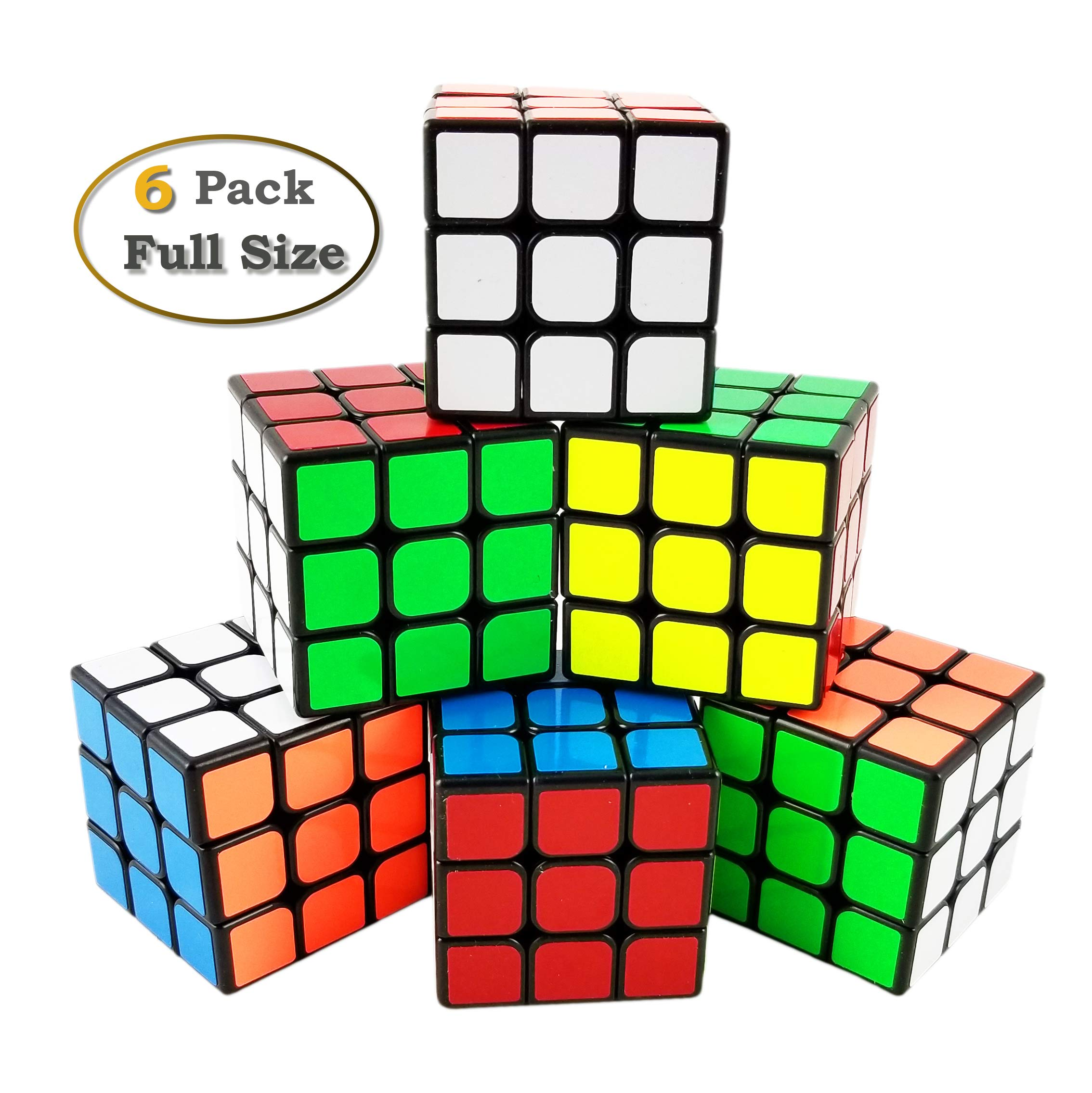 INTEGEAR 6 Pack Full Size Magic Speed Cube 3x3x3 Easy Turning and Smooth Play Puzzle Cube Bulk 56mm Educational Toys for All Age Kids and Adults by INTEGEAR