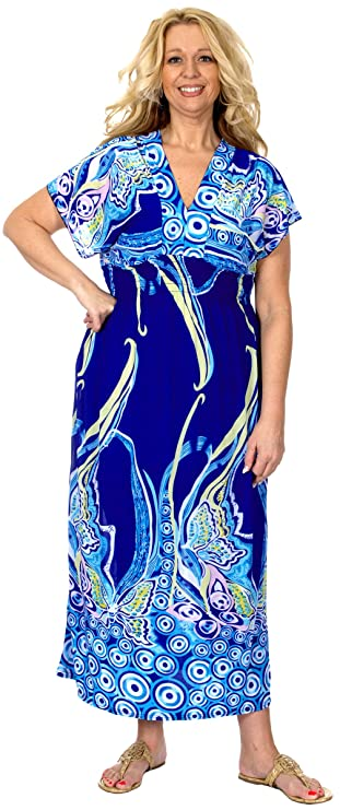 Amazon.com: Women\'s Plus Size Maxi Dress In Royal Blue With V ...