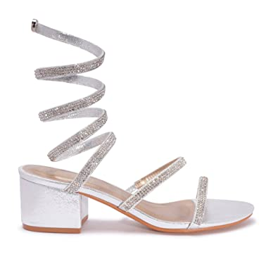 617c1e27af7 Mizzshuzz New Women s Sparkly Diamante Low Heel Wrap Around Party Wedding Ankle  Strap Sandals (UK