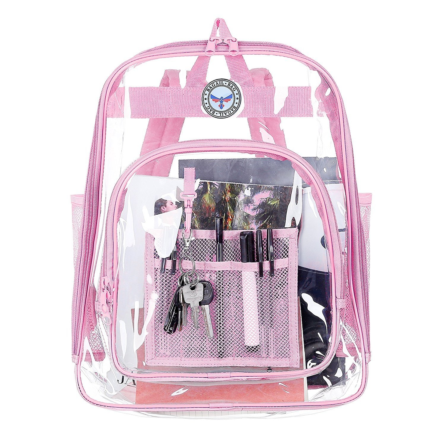 BAGAIL Clear See Through Backpack Heavy Duty Transparent Daypack Student School Bookback