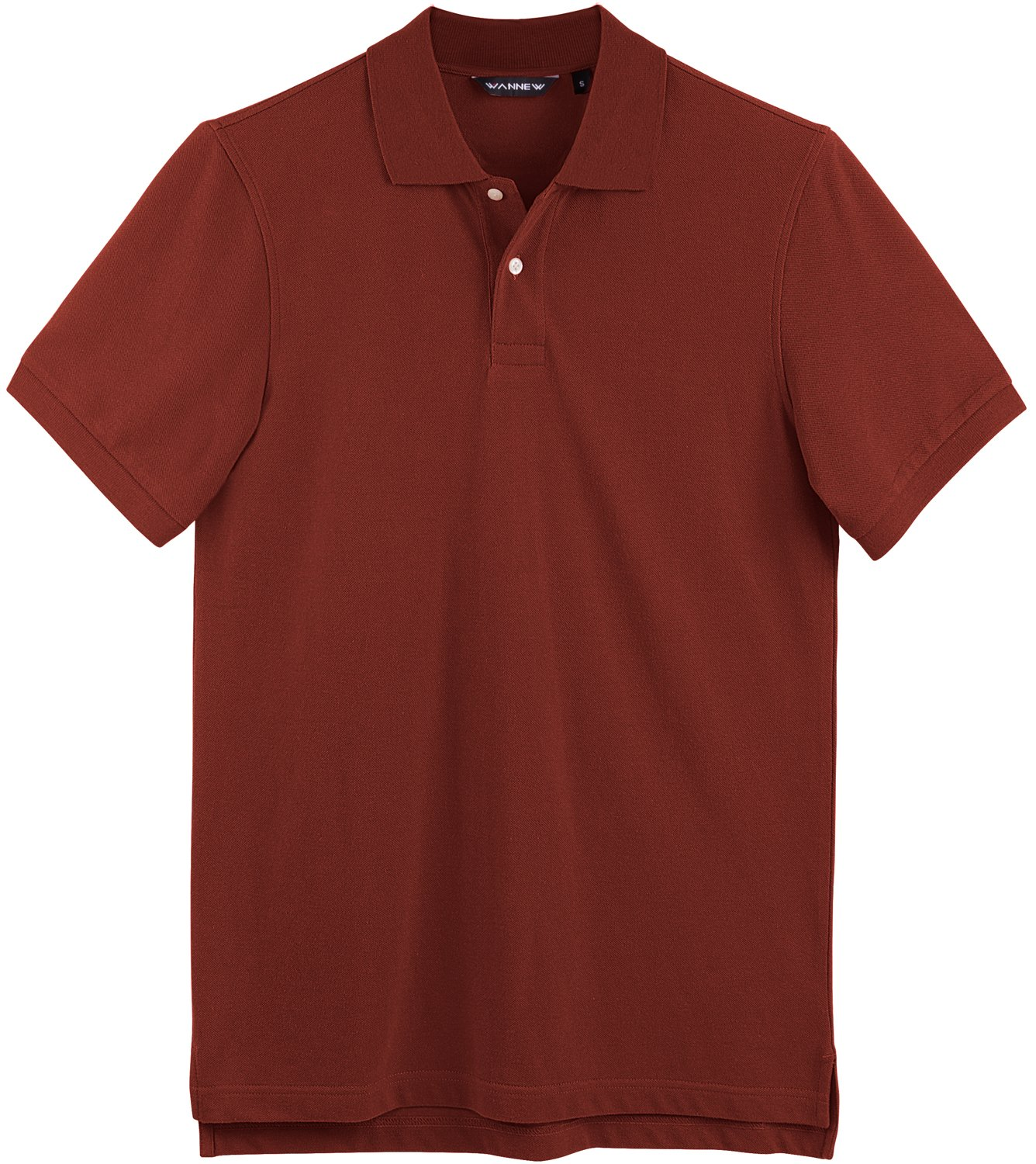 WANNEW Men's Cotton Polo Shirt Regular-Fit Quick-Dry Polo Shirts for Men (L, Red)