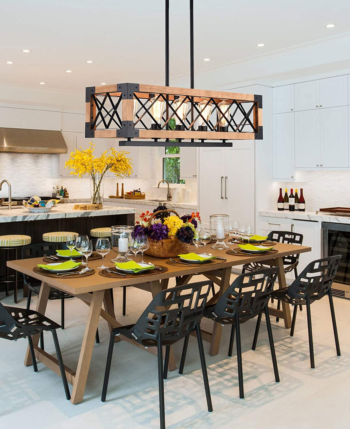 Industrial Rustic Wood Metal Frame Hanging Ceiling Chandelier 5-Light Farmhouse Linear Pendant Light Fixtures for Dining Room reesenLight Kitchen Island Lighting