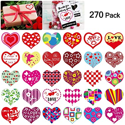 Amazon Com Heart Roll Sticker Valentine S Day Gift Tag Stickers