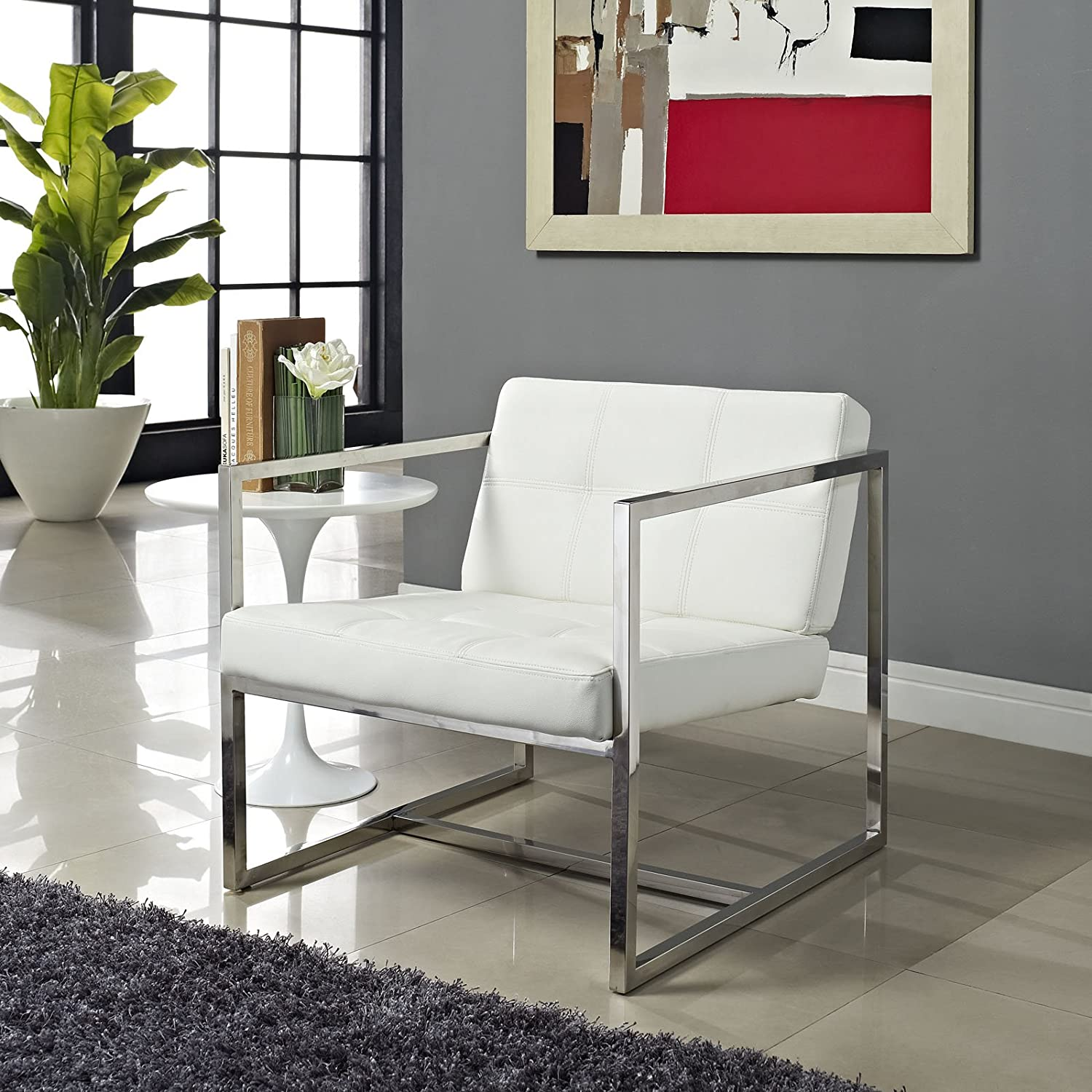 Amazon.com: Modway Hover Modern Reception Chair, White: Kitchen & Dining