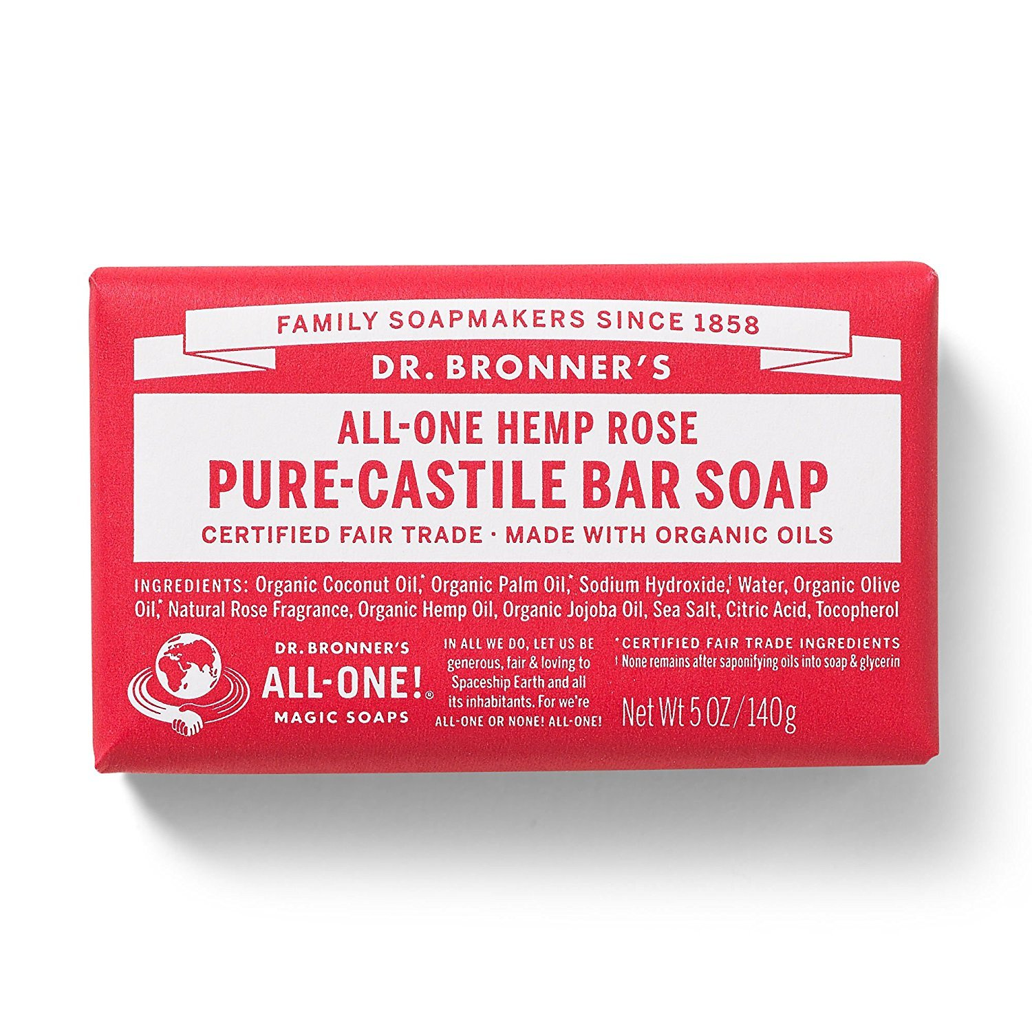 Dr. Bronner's Magic Soap Rose Bar Soap, 140-Gram Dr. Bronner' s Magic Soap 735