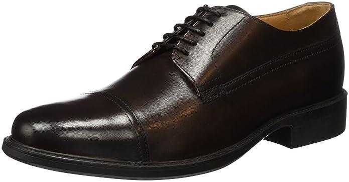 Geox UOMO CARNABY B - zapatos con cordones de cuero hombre, color negro, talla 39