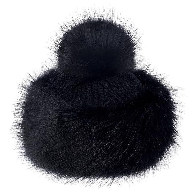 84c2f755ef9 Futrzane Faux Fox Fur Winter Tatars Hat for Women Cossack Pompom Ski (Black)