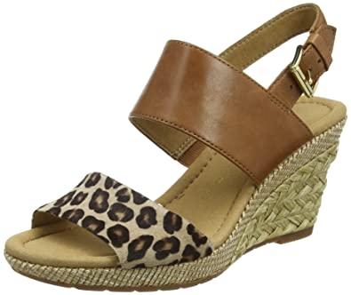 6d3e448a76 Gabor Anna, Women's Wedge Sandals, Brown (Brown Leather/Leopard Ozelot),