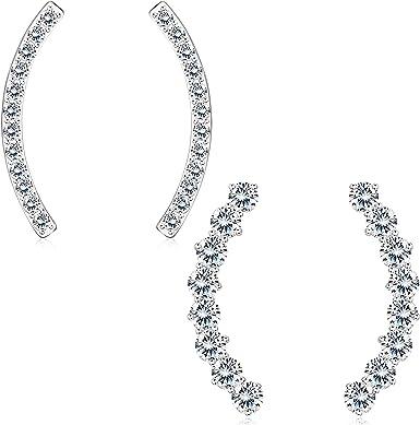 Sterling Silver Mermaid Ear Climber Crawler Wrap Earrings for Women