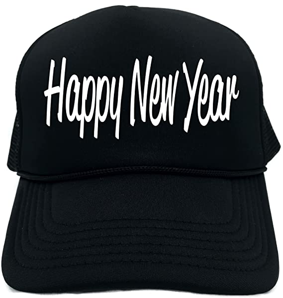 Amazon.com  Funny Trucker Hat (HAPPY NEW YEAR) Unisex Adult Foam Retro Cap   Clothing 05cfd8135fa