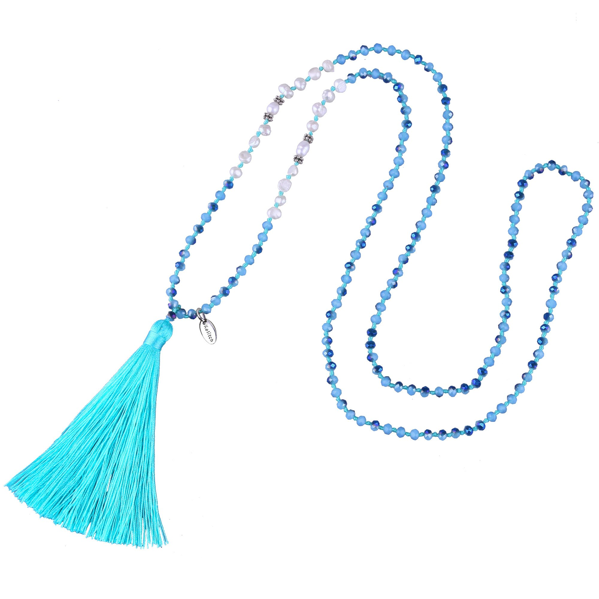 KELITCH Tassel Statement Necklace Hand Braided Crystal Beads Y Necklace for Young Lady, Blue