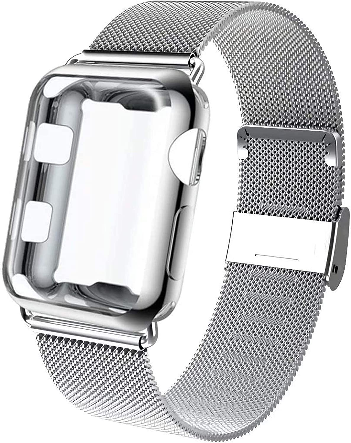 GBPOOT Compatible for Apple Watch Band 38mm 40mm 42mm 44mm with Screen Protector Case, Sports Wristband Strap Replacement Band with Protective Case for Iwatch Series 6/SE/5/4/3/2/1,42mm,Silver