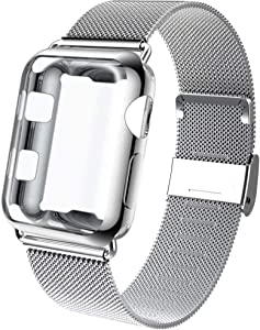 GBPOOT Compatible for Apple Watch Band 38mm 40mm 42mm 44mm with Screen Protector Case, Sports Wristband Strap Replacement Band with Protective Case for Iwatch Series 6/SE/5/4/3/2/1,44mm,Silver