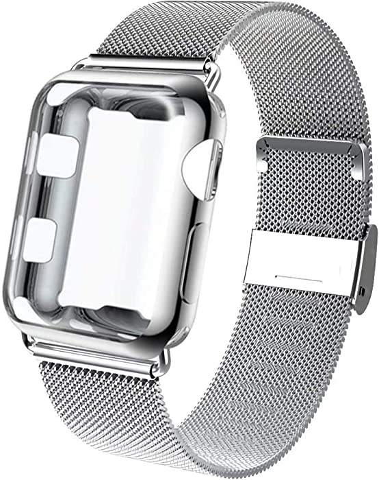 GBPOOT Compatible for Apple Watch Band 38mm 40mm 42mm 44mm with Screen Protector Case, Sports Wristband Strap Replacement Band with Protective Case for Iwatch Series 6/SE/5/4/3/2/1,38mm,Silver