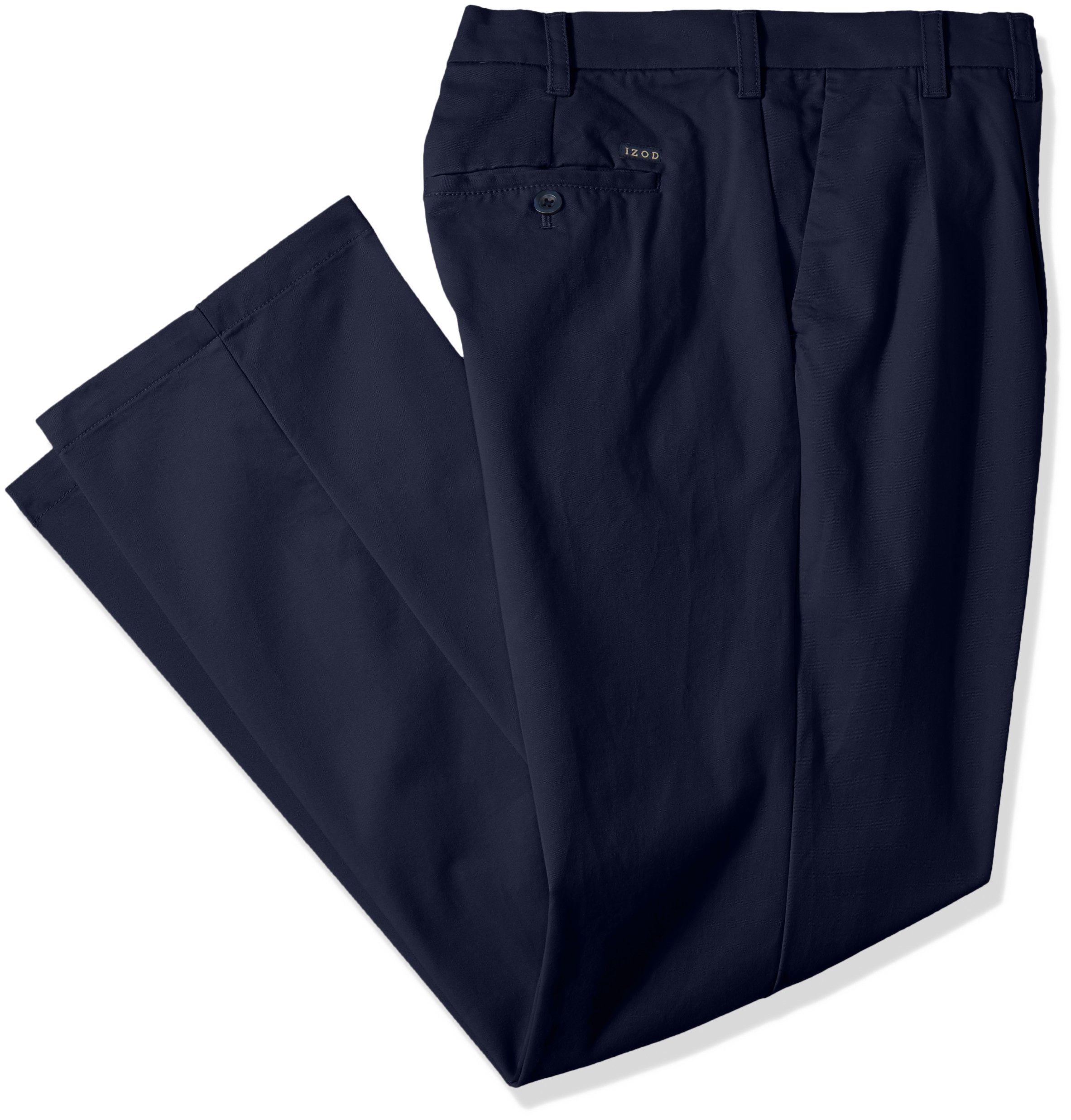 IZOD Men's Big and Tall Performance Stretch Pleated Pant, Navy, 44W X 34L