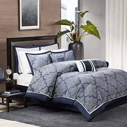 Madison Park Medina Cal King Size Bed Comforter Set Bed In A Bag   Navy,