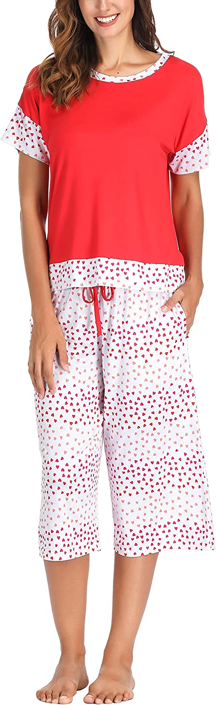Short Sleeve Sleepwear Ink+Ivy Capri Pajamas for Women Plus Size Ladies Pajamas Sets