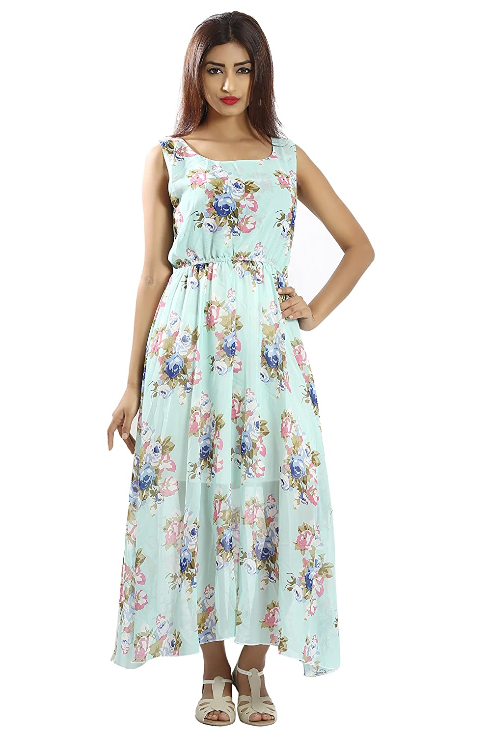 608eb50837b Snob Bee Sky Blue Floral Maxi for Women  Amazon.in  Clothing   Accessories
