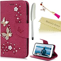 Mavis's Diary Samsung Galaxy S5 Case, Galaxy S5 i9600 Case - Bling Gems Diamonds Crystal Butterfly Glitter Wallet PU Leather Flip Case [Retro Flower Butterfly Embossed] Silicone Back Holder Card Slots & Stand & Wrist Strap -With Dust Plug & Stylus - Deep Pink