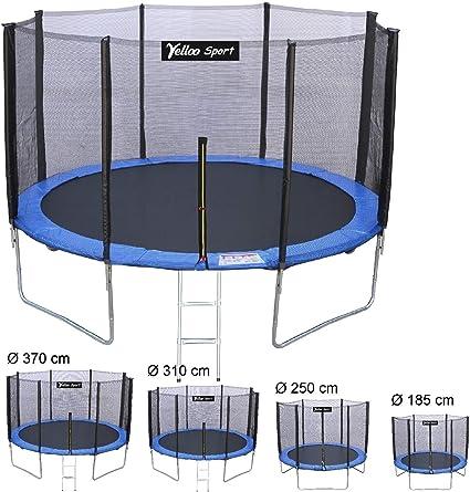 Yelloosport, Cama elástica de jardín para niños, diámetro 185 250 310 370 cm. Certificado TUV GS, alta calidad con unión de T: Amazon.es: Deportes y aire libre