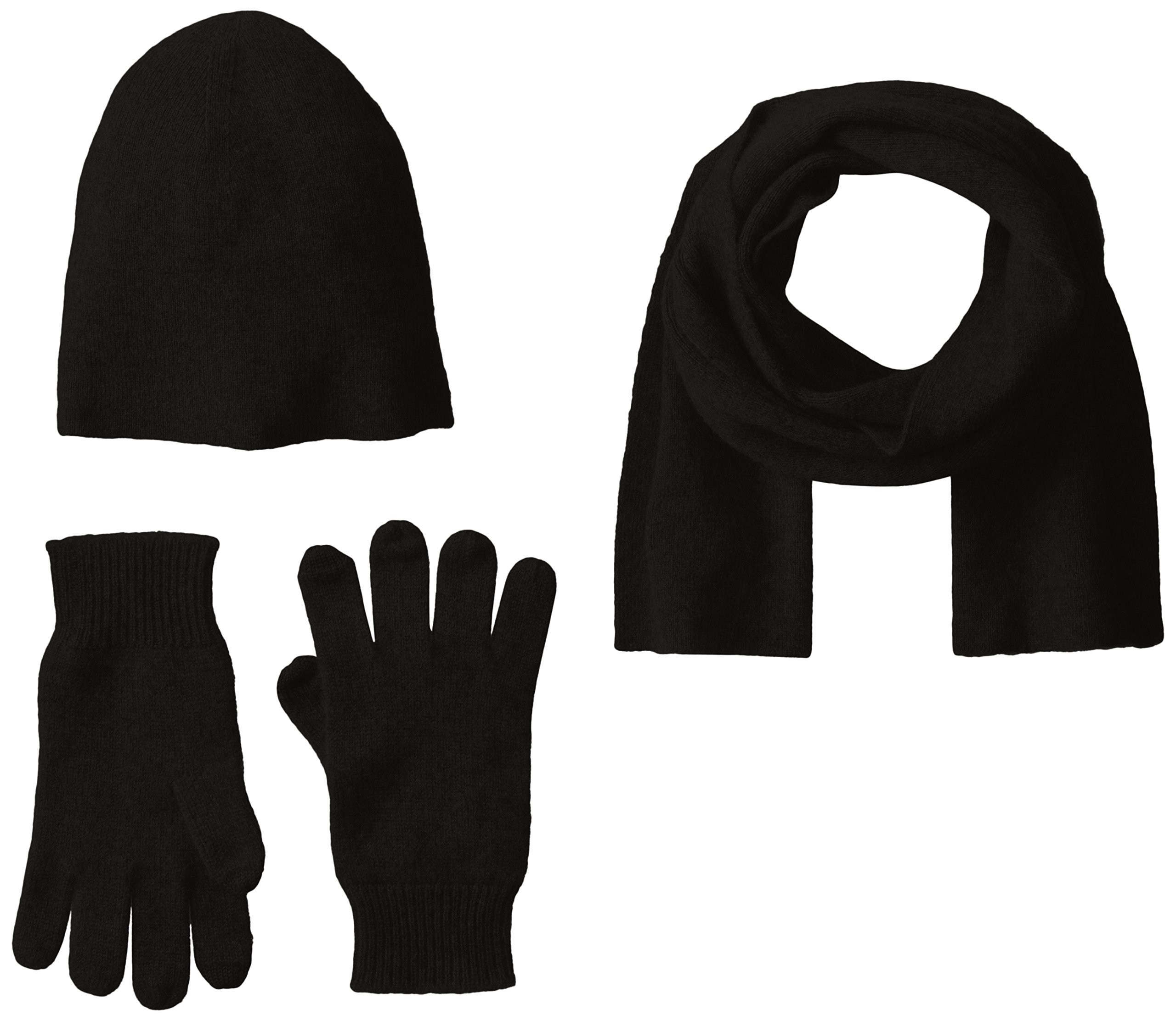 Williams Cashmere Men's Cashmere Hat, Texting Glove and Scarf Box Set, Black, One Size